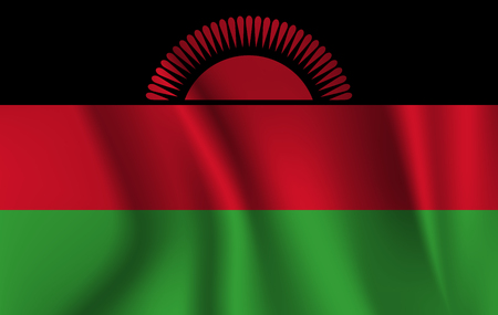 national flag of Malawi on wavy cotton fabric. Realistic illustration. Stock Photo