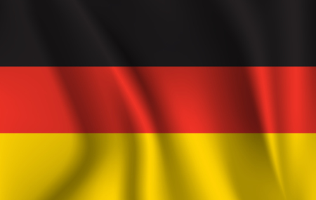 The national flag of Germany. The symbol of the state on wavy silk fabric. Realistic illustration.