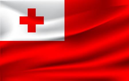 Flag of Tonga. Realistic waving flag of Kingdom of Tonga. Fabric textured flowing flag of Tonga. Friendly Islands.