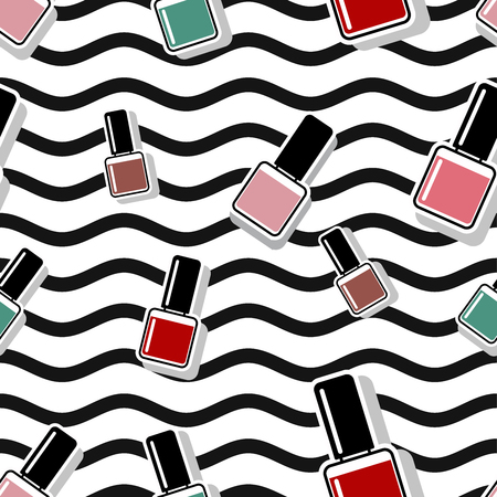Seamless vector pattern nail polish background illustration. 10 eps