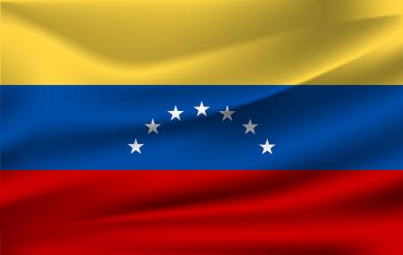Venezuela flag background with cloth texture. Venezuela flag illustration. Stock Photo