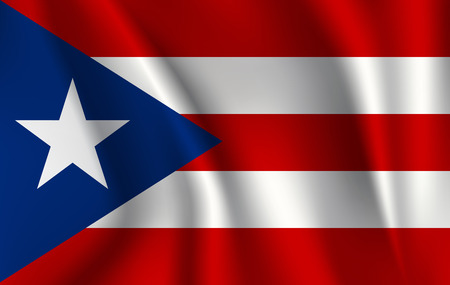 Waving Flag of Puerto Rico is a state of USA. illustration