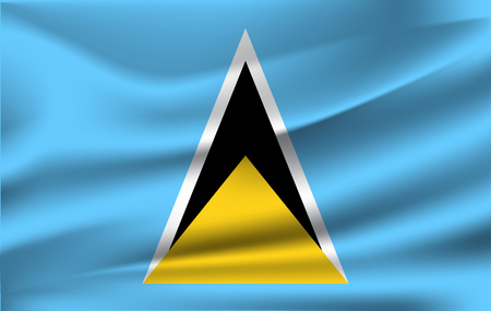 3D Waving Flag of Saint Lucia Stock Photo