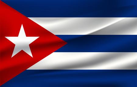 Fondo de bandera cubana con textura de tela. Ilustración de vector de bandera cubana.
