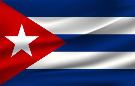 Cuban flag background with cloth texture. Cuban flag vector illustration. Illustration
