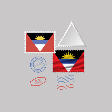 ANTIGUA AND BARBUDA flag postage stamp set, isolated on gray background, vector illustration.