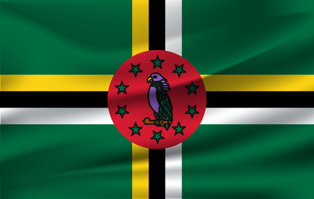 Flag of Dominica. Realistic waving flag of Commonwealth of Dominica. Fabric textured flowing flag of Dominica.