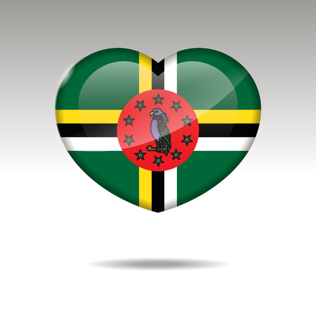 Love DOMINICA symbol. Heart flag icon. Vector illustration. 向量圖像