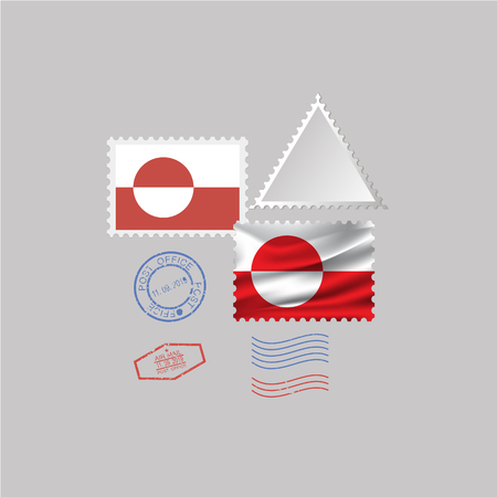 GREENLAND flag postage stamp set, isolated on gray background, vector illustration.