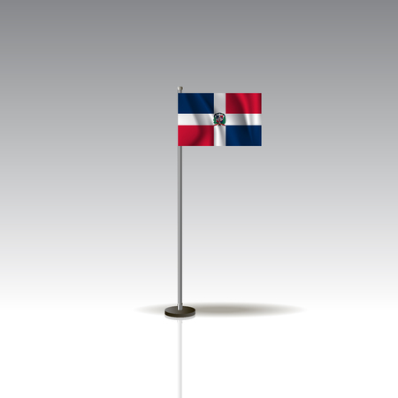 Flag Illustration of the country of DOMINICAN REPUBLIC. National DOMINICAN REPUBLIC flag isolated on gray background. Vector. EPS10