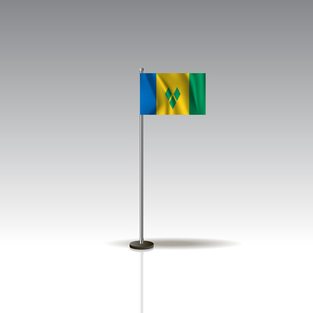 Flag Illustration of the country of SAINT VINSENT AND THE GRENADINES. National SAINT VINSENT AND THE GRENADINES flag isolated on gray background. Vector. EPS10