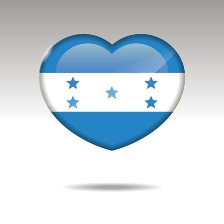 Love HONDURAS symbol. Heart flag icon. Vector illustration. Illustration