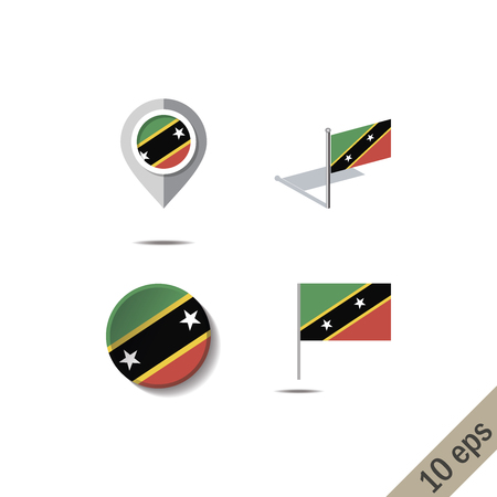 Map pins with flag of SAINT KITTS AND NEVIS - vector illustration