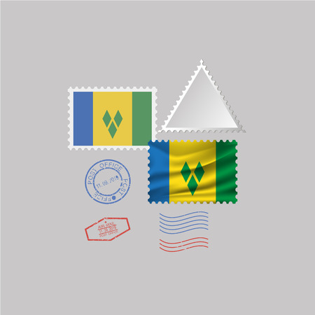 SAINT VINSENT AND THE GRENADINES flag postage stamp set, isolated on gray background, vector illustration.
