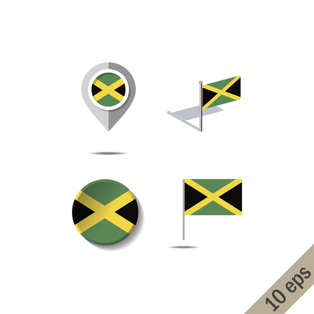Map pins with flag of JAMAICA - vector illustration