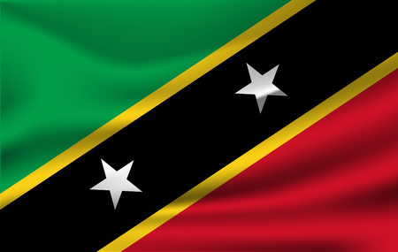 Waving flag of Saint Kitts and Nevis, vector