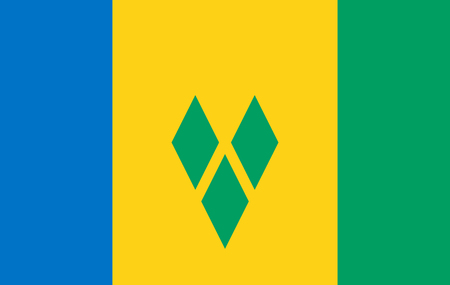The national flag of the country of Saint Vincent and the Grenadines