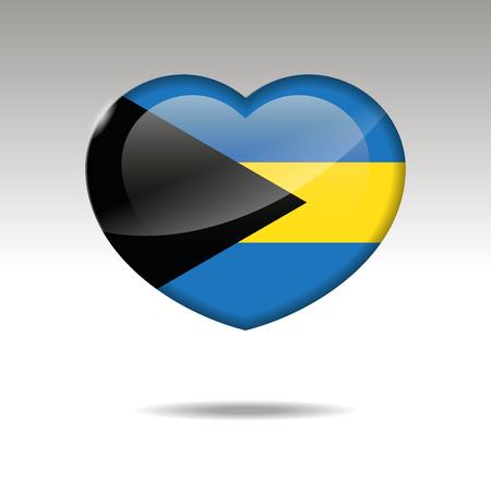 Love THE BAHAMAS symbol. Heart flag icon. Vector illustration.