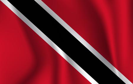 Flag of Trinidad and Tobago. Realistic waving flag of Republic of Trinidad and Tobago. Fabric textured flowing flag of Trinidad and Tobago.