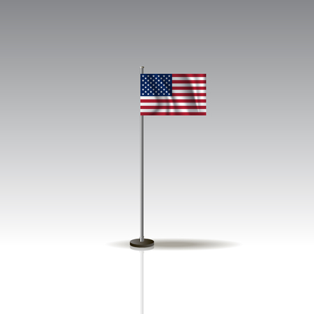Flag Illustration of the country of USA. National USA flag isolated on gray background. USA Flag Flat Web Mobile Icon / Vector / Sign / Symbol / Button illustration EPS10