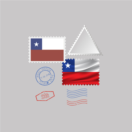 A set of stamps with the image of the flag CHILE. Vector illustration on grey background.