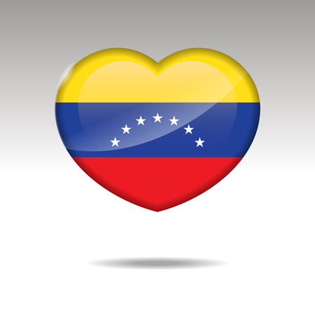 Love VENEZUELA symbol. Heart flag icon. Vector illustration. Ilustrace