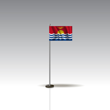 Flag Illustration of the country of KIRIBATI. National KIRIBATI flag isolated on gray background. Vector. EPS10