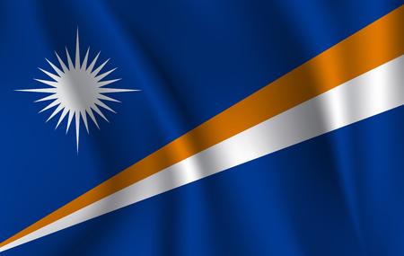 Flag of Marshall Islands. Realistic waving flag of Republic of the Marshall Islands. Fabric textured flowing flag of Marshall Islands.