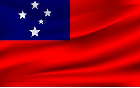 Samoa flag background with cloth texture. Samoa flag vector illustration. Illustration