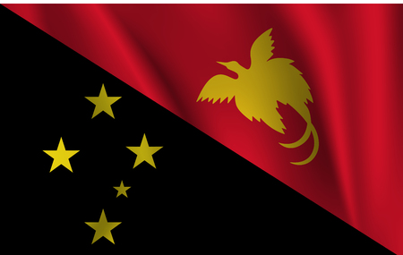 national flag of Papua New Guinea on wavy cotton fabric. Realistic vector illustration.