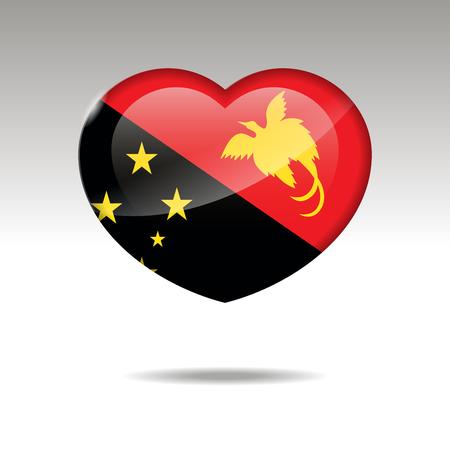 Love PAPUA NEW GUINEA symbol. Heart flag icon. Vector illustration. Illustration
