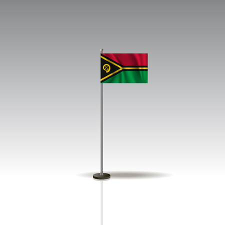 Flag Illustration of the country of VANUATU. National VANUATU flag isolated on gray background. Vector. EPS10 Vectores