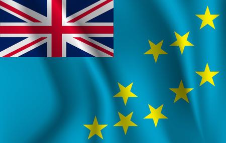 Flag of Tuvalu. Realistic waving flag of Ellice Islands. Fabric textured flowing flag of Tuvalu. Illustration