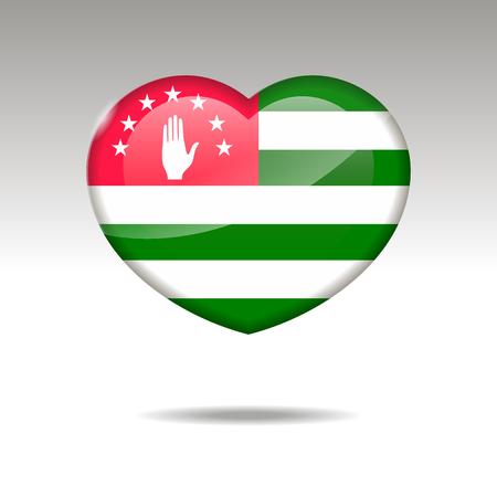 Love Abkhazia symbol. Heart flag icon.