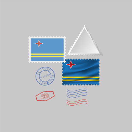 ARUBA flag postage stamp set, isolated on gray background.