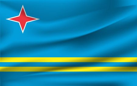 Realistic waving flag of the Waving Flag of Aruba, high resolution Fabric textured flowing flag,vector EPS10