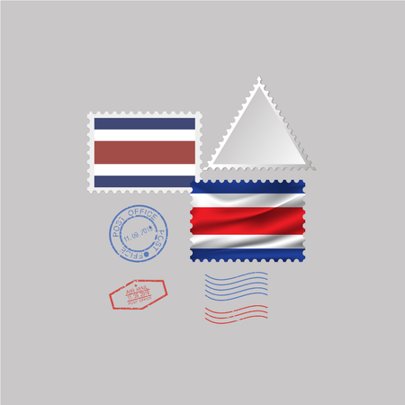 COSTA RICA flag postage stamp set, isolated on gray background, vector illustration.