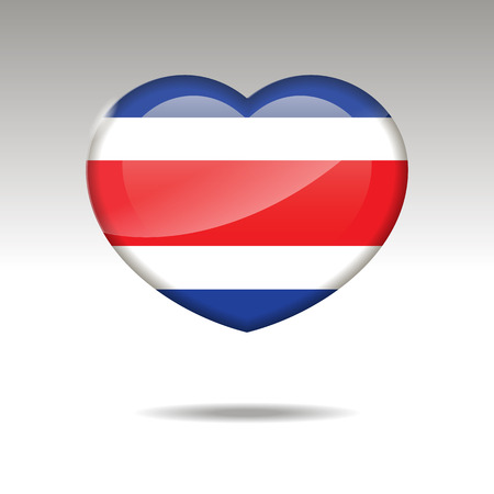 Love COSTA RICA symbol. Heart flag icon. Vector illustration.