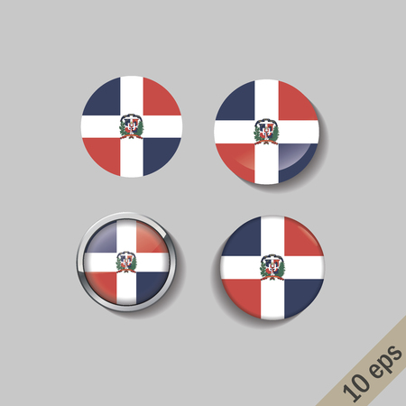 Set of DOMINICAN REPUBLIC flags round badges. Vector illustration. 10 eps Ilustração