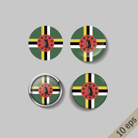 Set of DOMINICA flags round badges. Vector illustration. 10 eps