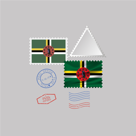 DOMINICA flag postage stamp set, isolated on gray background