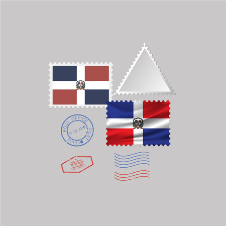 DOMINICAN REPUBLIC flag postage stamp set, isolated on gray background. Vektoros illusztráció
