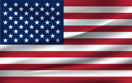 Realistic waving flag of the Waving Flag of USA, high resolution Fabric textured flowing flag,vector EPS10