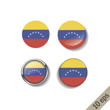 Conjunto de insignias redondas de banderas de VENEZUELA. Ilustración vectorial. 10 eps Ilustración de vector