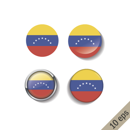 Satz von VENEZUELA-Flaggen runden Abzeichen. Vektor-Illustration. 10 eps Vektorgrafik