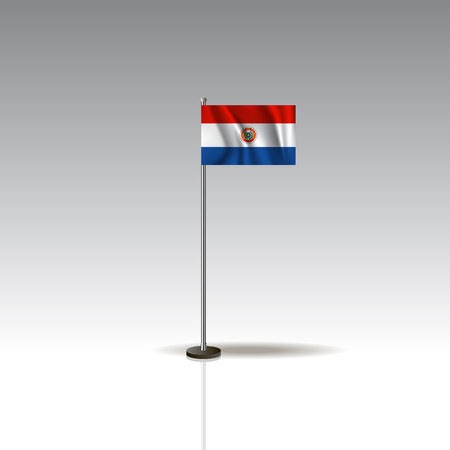 Flag Illustration of the country of PARAGUAY. National PARAGUAY flag isolated on gray background. Vector. EPS10