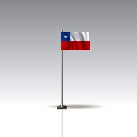 Flag Illustration of the country of CHILE. National CHILE flag isolated on gray background. Vector. EPS10