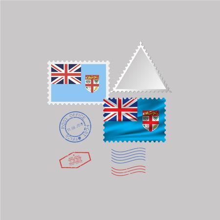 FIJI flag postage stamp set, isolated on gray background. Illustration