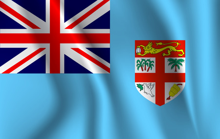 Realistic waving flag of the Waving Flag of Fiji, high resolution Fabric textured flowing flag,vector EPS10