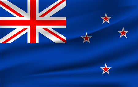 Realistic waving flag of the Waving Flag of New Zealand, high resolution Fabric textured flowing flag,vector EPS10